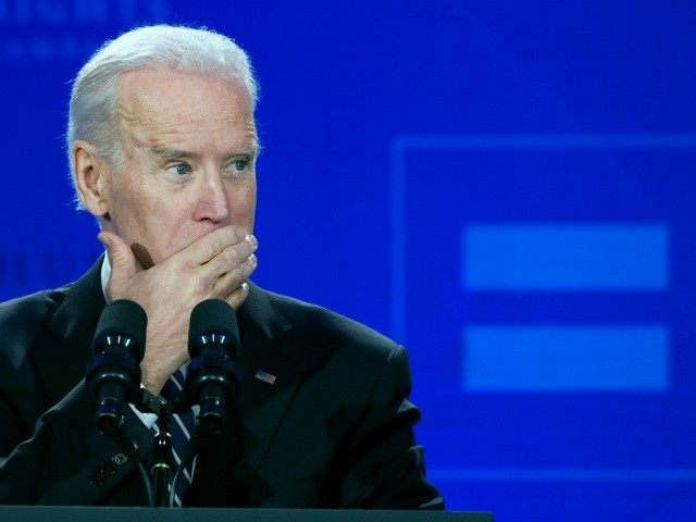 Vice President Joe Biden pauses while addressing the Human Rights Campaign Spring Equity Convention in Washington, Friday, March 6, 2015. Biden said the same human rights that African Americans fought for in Selma, Alabama, are at stake for gay rights activists today. Biden is drawing parallels between the civil rights …
