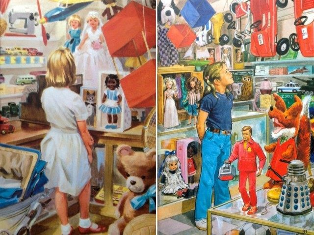 Gender equality: Birls can wear trousers too, and boys can be dolls.