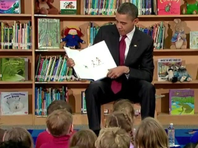 The President reads The Night Before Christmas and selections from his book Of Thee I Sing to students at Long Branch Elementary School in Arlington, VA.
