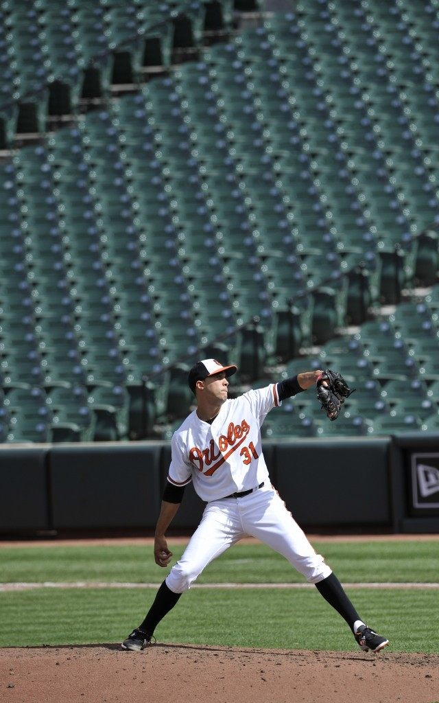With a background of empty seats, Baltimore Orioles pitcher Ubaldo Jimenez throws against the Chicago White Sox during the fifth inning of a baseball game, Wednesday, April 29, 2015, in Baltimore. Due to security concerns the game was closed to the public. The Orioles won 8-2.(AP Photo/Gail Burton)