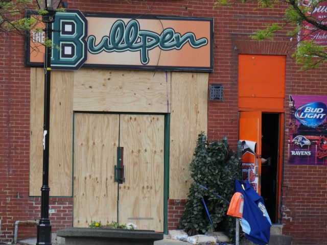 Baltimore Bar Boarded Up