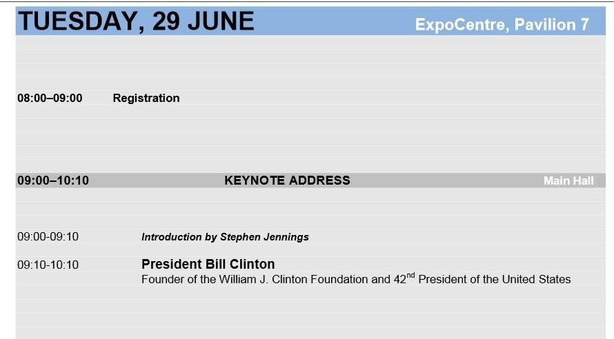 Bill Clinton Renaissance 2010 itinerary