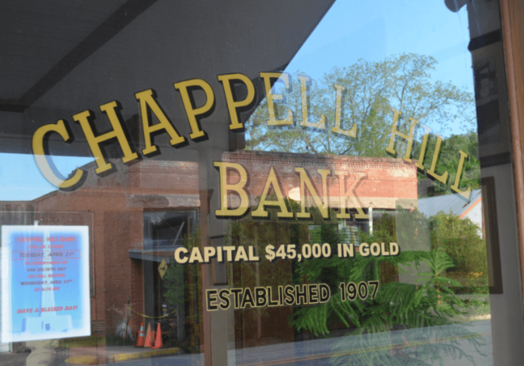 Chappell Hill Bank Capital Sign. Photo: BREITBART TEXAS/Bob Price