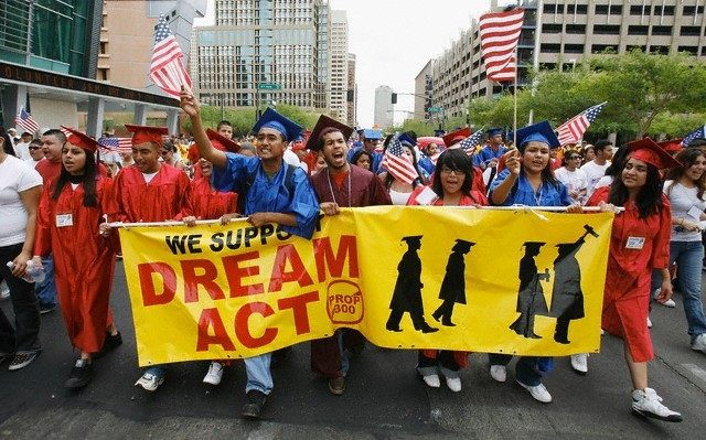 Students march in favor of immigration reform and the Dream Act through downtown Phoenix