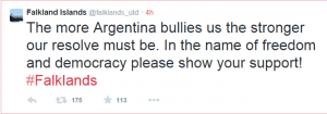 Falkland Islanders' Tweet