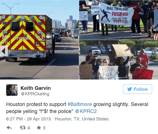 Keith Garvin Tweet from Houston Protest