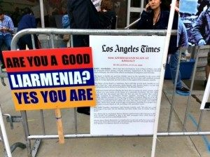 Liarmenia Sign at Genocide Protest Adelle Nazarian Breitbart News