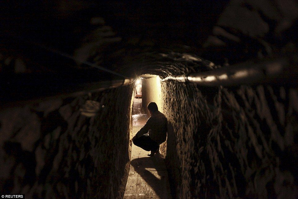 Mexican police search planned smuggling tunnel. Photo: Reuters