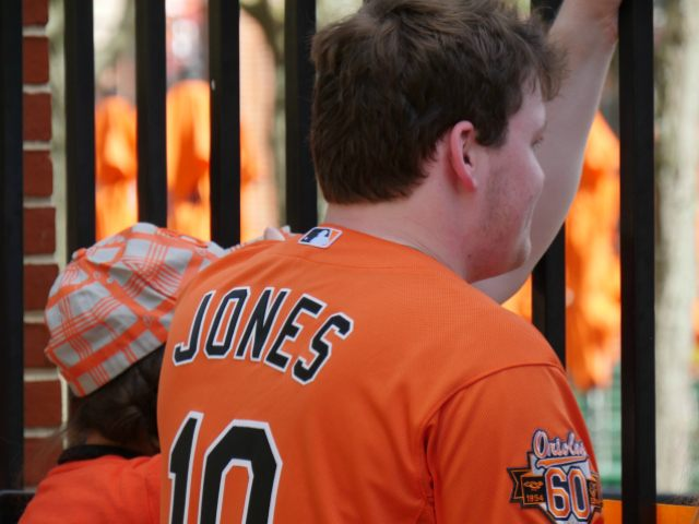 Orioles Fan Watching Behind the Fence