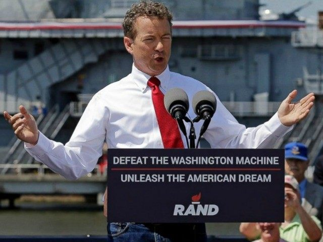 Republican Presidential candidate, Sen. Rand Paul, R-Ky., speaks at a rally at the USS Yorktown in Mount Pleasant, S.C., April 9, 2015.