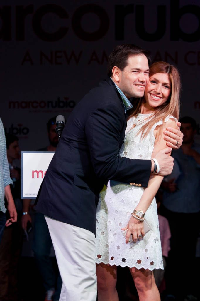 Rubio gives his wife Jeanette a hug during a walk-through of the event space in Miami's Freedom Tower. Photo by Shealah Craighead/Marco Rubio for Senate