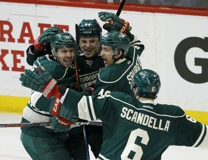 Zach Parise, Mikael Granlund, Jared Spurgeon, Marco Scandella