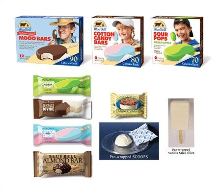 Permanently discontinued Blue Bell products. Photo Courtesy Blue Bell Creameries.