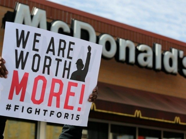 McDonald's workers and supporters rally outside a McDonald's, Wednesday, April 15, 2015, in Chicago. Fast-food workers calling for $15 an hour are picking up some more allies Wednesday. Airport workers, home care workers, Walmart workers and adjunct professors are among those set to join in the fight for $15 protests …