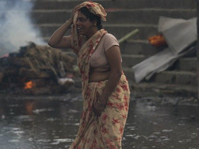A woman grieves in Kathmandu (AP)