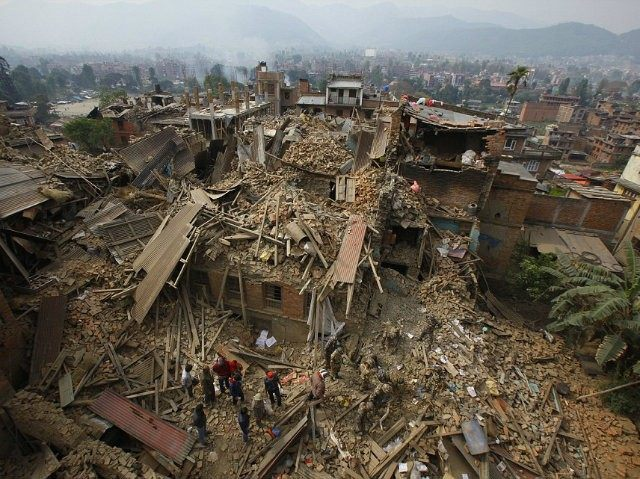 The Nepalese capital Kathmandu lies devastated by the quake (AP)