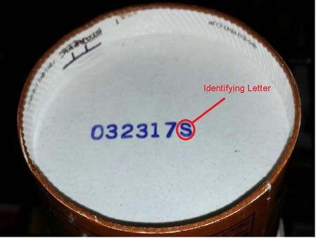 Sample of Blue Bell code date. Photo Courtesy, Center for Disease Control.