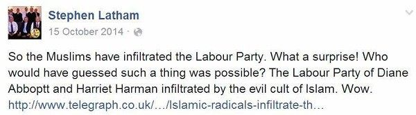 UKIP candidate Steve Latham was commenting on a story about Islamic infiltration in Tower Hamlets.