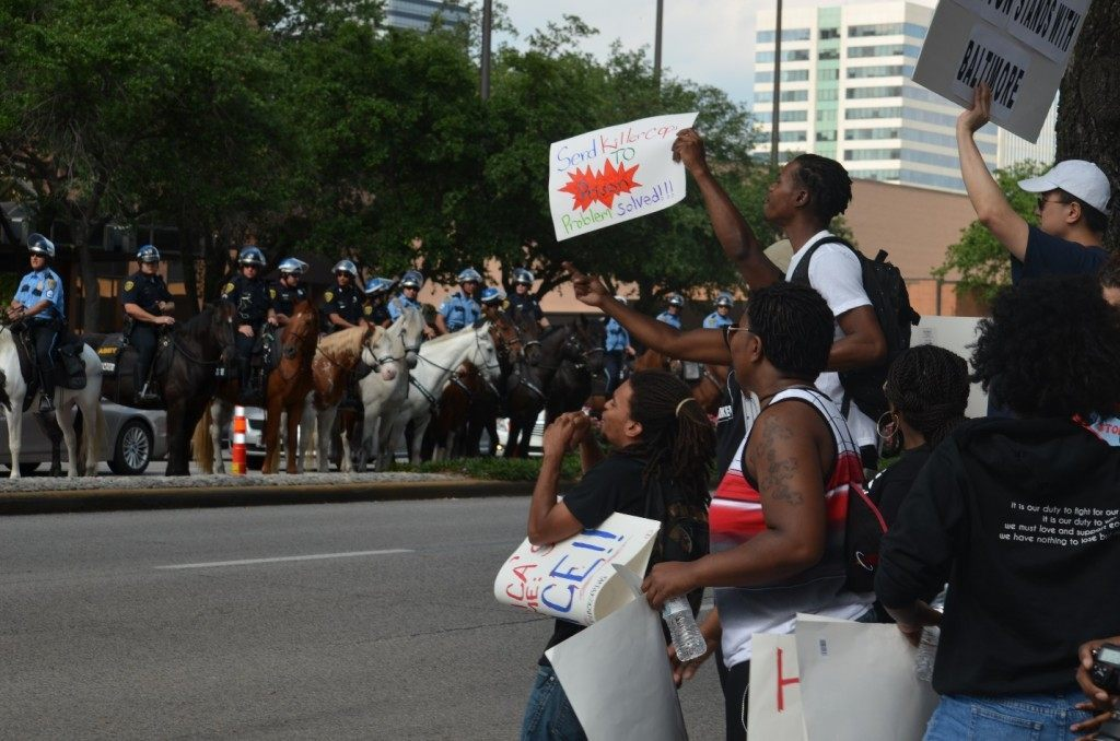 BLM 8 Protesters stand off against mounted cops