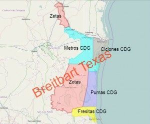 Map of the Gulf Cartel and Los Zetas areas of influence in the border state of Tamaulipas