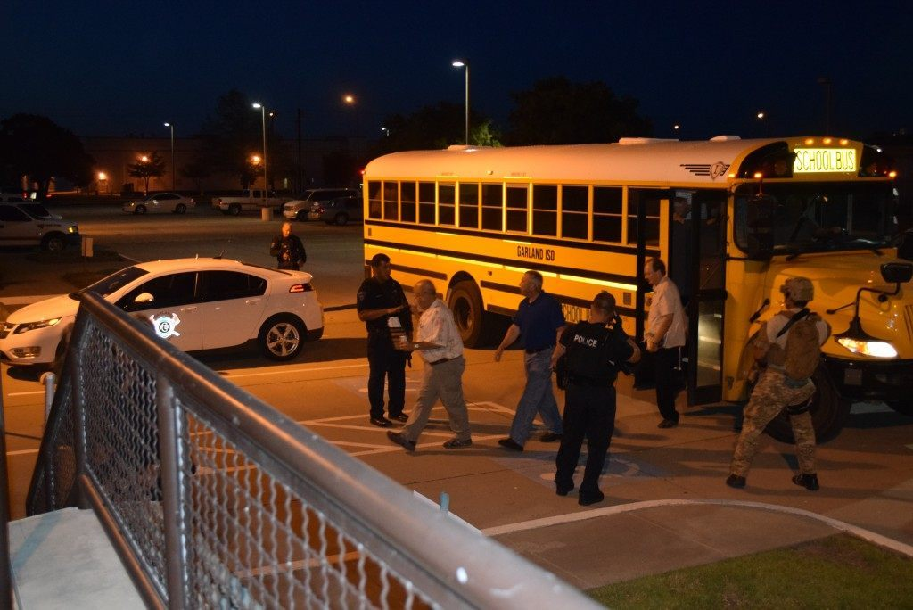Attendees being moved to secure location by Garland school buses. Breitbart Texas photo by Lana Shadwick.