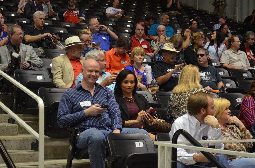 Ken Emanualson and Katrina Pearson were among the members of the audience in lockdown. Breitbart Texas Photo by Bob Price.