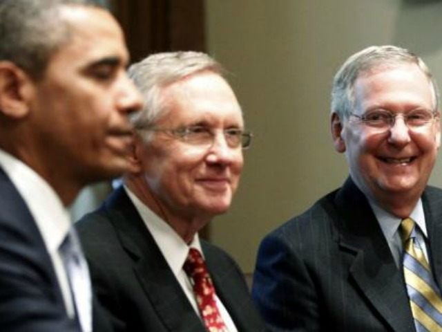 President Obama, Senate Majority Leader Harry Reid and Senate Minority Leader Mitch McConnell at the White House.