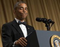 Obama at Press Dinner - NPR Photo