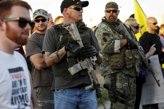 "Men carrying rifles attend ""Freedom of Speech Rally Round II"" across from Islamic Community Center in Phoenix"