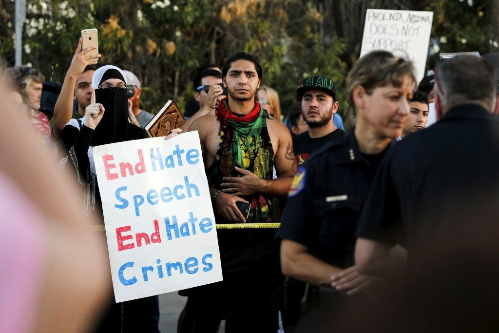 """People counter """"Freedom of Speech Rally Round II"""" outside Islamic Community Center in Phoenix"""