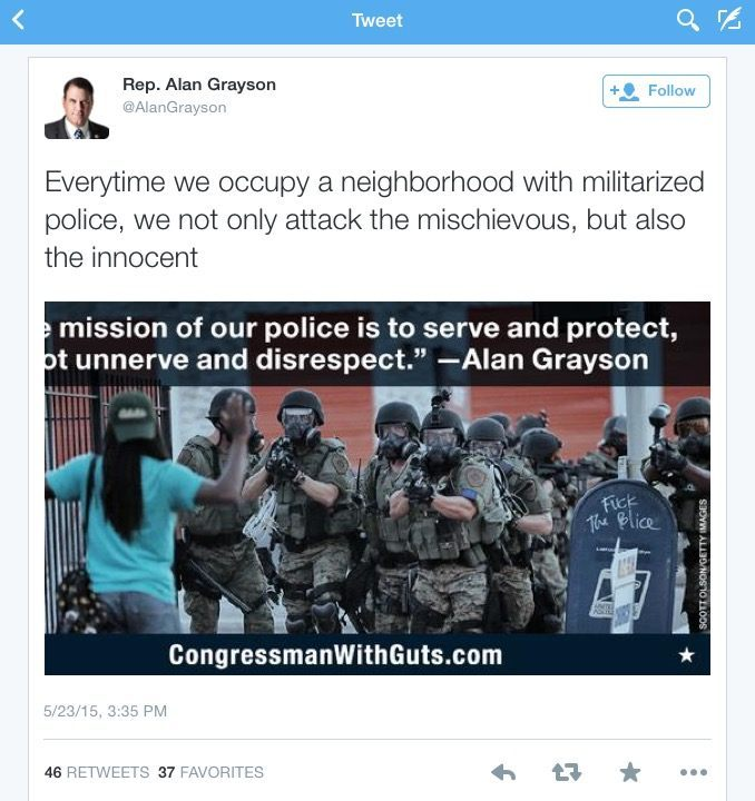 Tweet posted by @AlanGrayson.