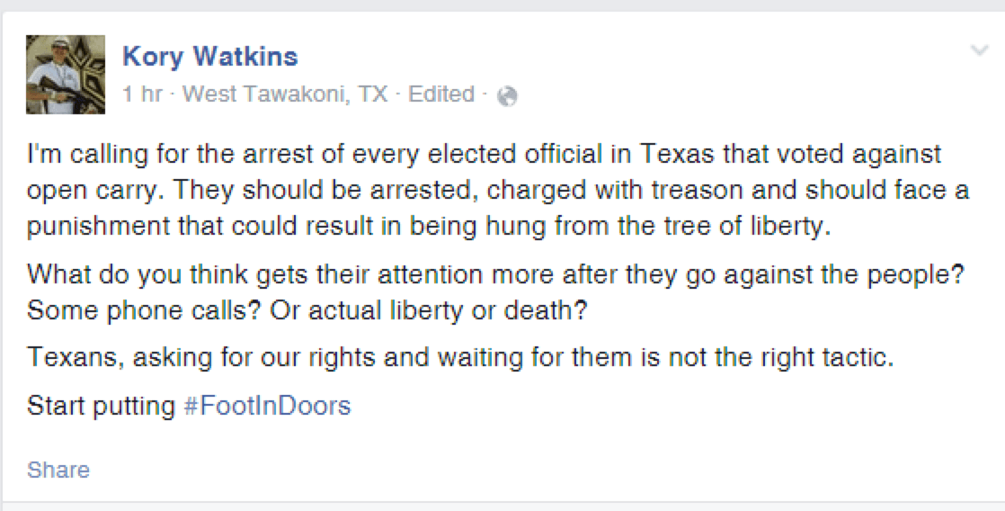 Open Carry Texas Man Calls for Hanging Elected Officials