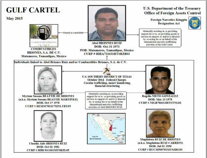 Chart showing the main players in a Gulf Cartel cocaine and cash network.