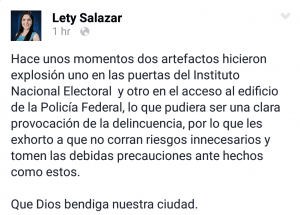 Matamoros Mayor Leticia Salazar took to social media to confirm the grenade attack in her city and to warn local residents.