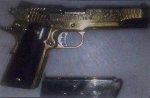 Photograph of the jeweled handgun used by Gulf Cartel Commander Toro
