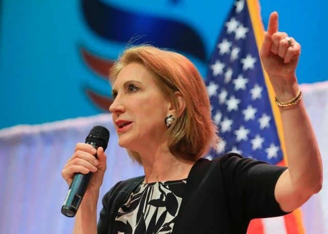Former Hewlett-Packard CEO Carly Fiorina speaks at the Iowa Faith & Freedom 15th Annual Spring Kick Off, in Waukee, Iowa, Saturday, April 25, 2015.