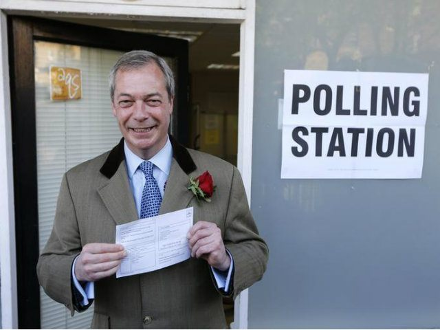 Nigel Farage, the leader of the United Kingdom Independence Party (UKIP) arrives to vote in Ramsgate. (REUTERS/Suzanne Plunkett)