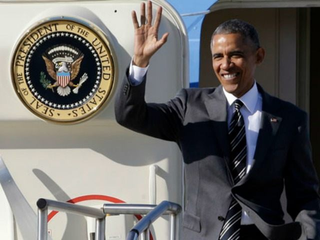 President Barack Obama waves as he arrives in Portland, Ore., Thursday, May 7, 2015. On Friday, the president will visit Nike headquarters in Beaverton, Ore., to make his trade policy pitch as he struggles to win over Democrats for what could be the last major legislative push of his presidency.