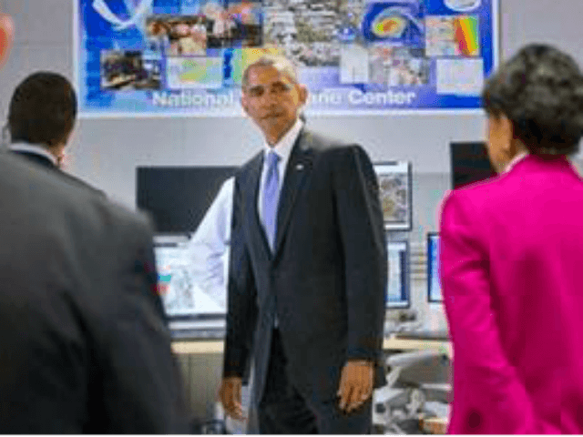 President Barack Obama tours the National Hurricane Center in Miami, Thursday, May 28, 2015, to draw attention to preparedness in advance of the annual storm season that formally begins June 1.