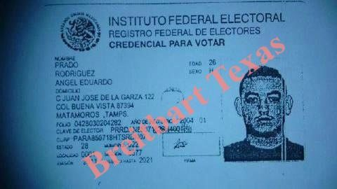 EXCLUSIVE photograph of an ID card belonging to the Gulf Cartel boss in Matamoros