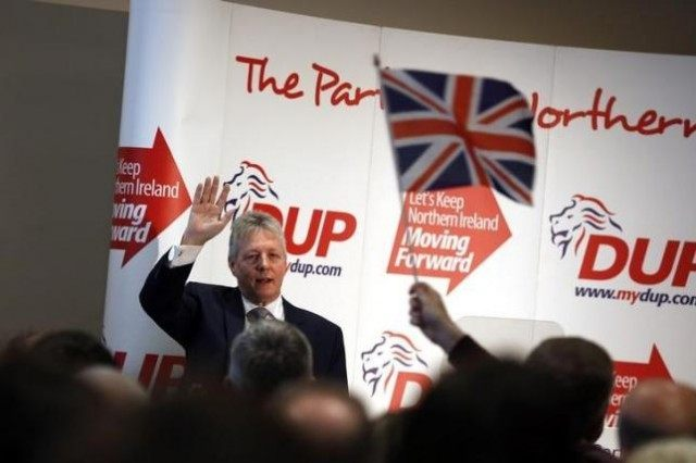 Democratic Unionist Party leader Peter Robinson speaks at the party's policy conference in the village of Templepatrick twenty miles north of Belfast