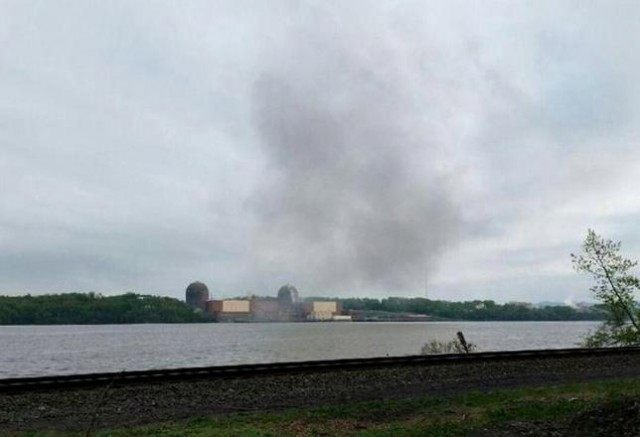 Smoke is seen over the Indian Point nuclear power plant in New York