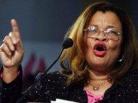 Dr. Alveda King, founder of King for America, Inc., gestures at the Justice Sunday III rally on January 8, 2006 in Philadelphia, Pennsylvania. Sponsored by the Family Research Council, the rally was held one day before the start of confirmation hearings for Supreme Court nominee Samuel Alito.