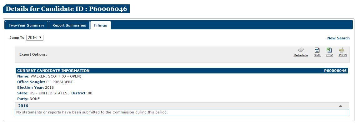 Screencap of Scott Walker's presidential filing at FEC.gov