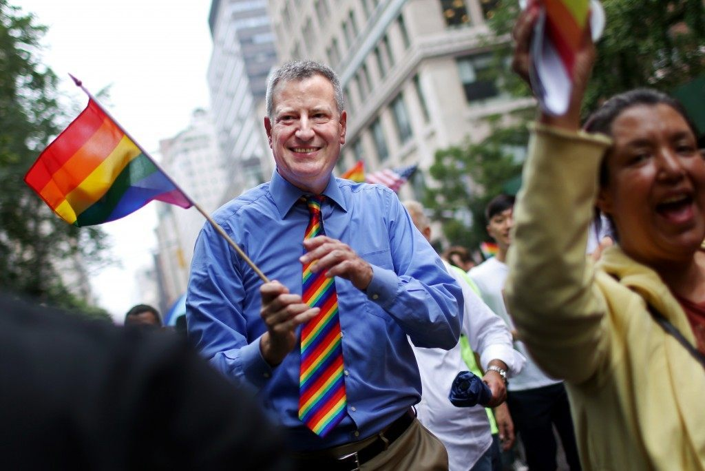 New York Mayor Bill De Blasio marches in the Gay Pride Parade on June 28, 2015 in New York City. (Yana Paskova/Getty Images)