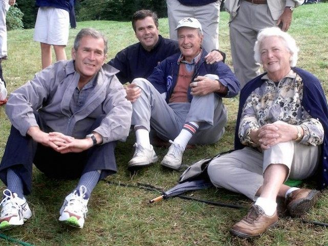 The Bush family,(L-R) Texas Governor and president