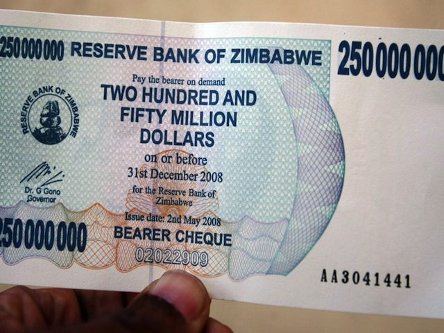 An unidentified man holds the new Zimbab