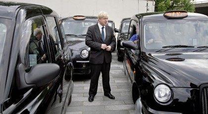 London Mayor Boris Johnson talks to a bl