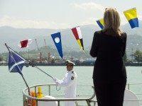 Hillary Clinton on ship (Saul Loeb / AFP / Getty)