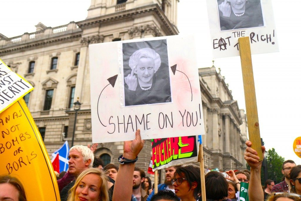 Protesters likened Cameron to Thatcher... we wish (Raheem Kassam/Breitbart London)